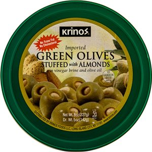 KRINOS Green Olives stuffed with almonds 8oz