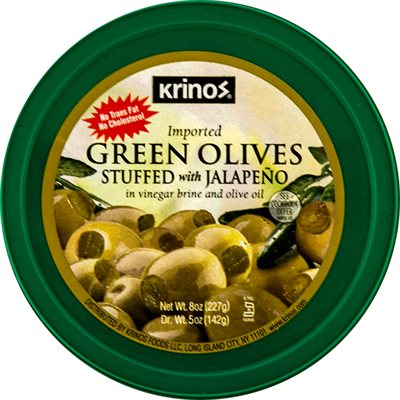 KRINOS Green Olives stuffed with jalapenos 8oz