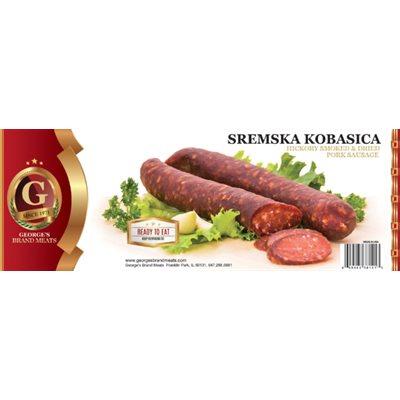 GEORGE'S Smoked Dried Pork Sausage (Sremska Kobasica) Appr 20lb