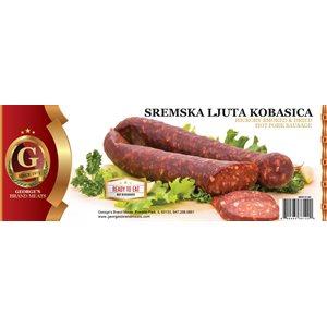 GEORGE'S Hot Pork Dry Sausage (Sremska Ljuta Kobasica) Appr 20lb